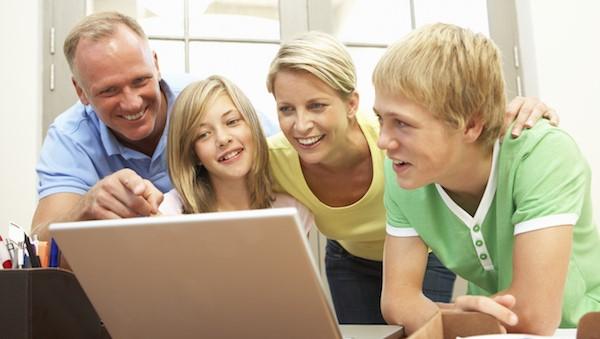Family Checking Social Media